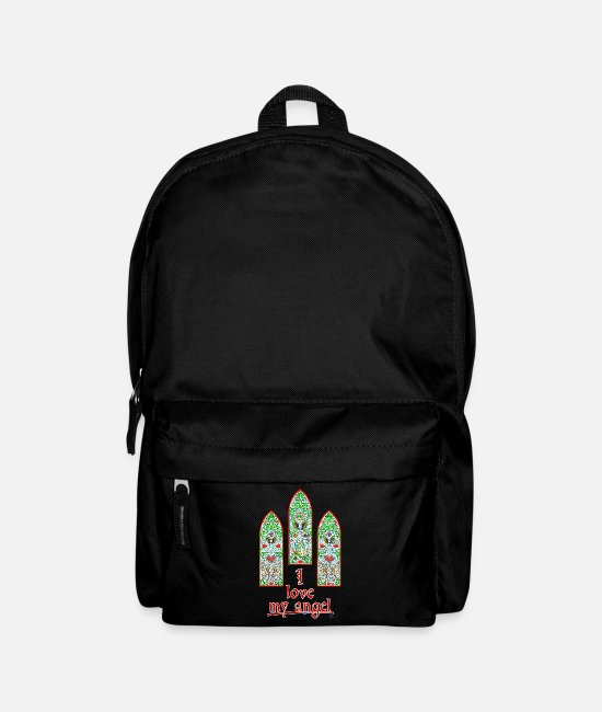 Stained Glass Windows Bags & Backpacks - I love my angel - By FEDVAL - Backpack black