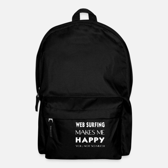 Web Surfing Present Bags & Backpacks - Web surfing - Web surfing makes me happy. - Backpack black