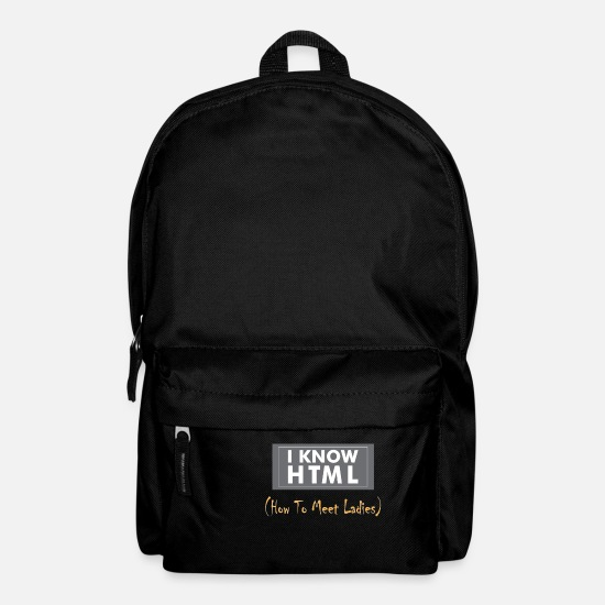 HTML Gift Bags & Backpacks - HTML - I know HTML (How to meet ladies) - Backpack black