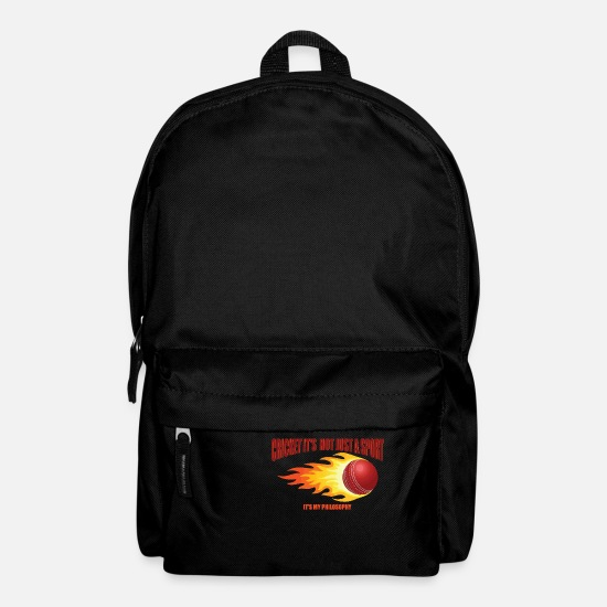 Gift Idea Bags & Backpacks - Cricket philosophy life attitude - Backpack black