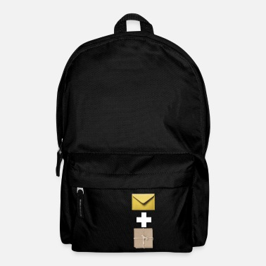 Composite Delivery Mail and parcel courier. Workshirt illustration - Backpack