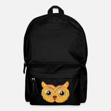 Jewelry abstract owl head made of floral shapes - Backpack