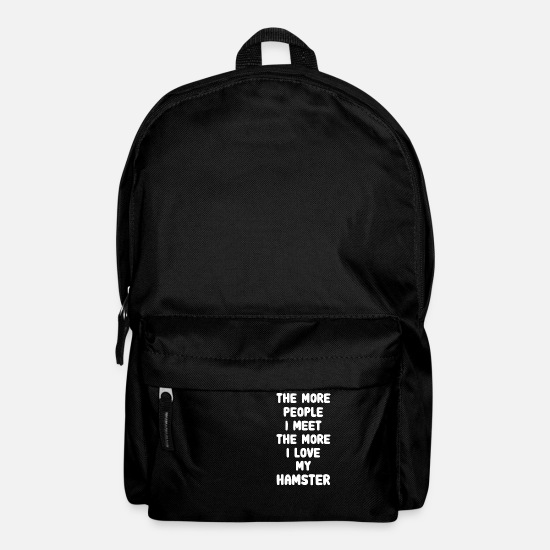 Birthday Bags & Backpacks - The More People I Meet Hamster - White - Backpack black