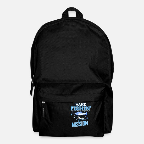 Shark Bags & Backpacks - Fishing is my mission gift fishing - Backpack black