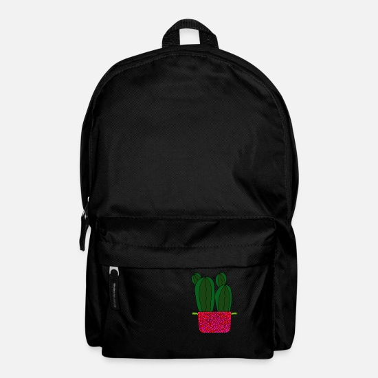 Flowers Bags & Backpacks - Spiky Cacti In Raspberry Inspired Pot - Backpack black