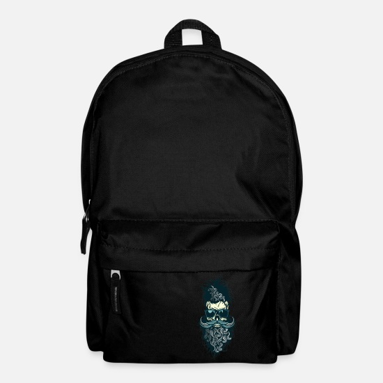 Mustache Bags & Backpacks - head of death hipster skull skull bearded mustache l - Backpack black