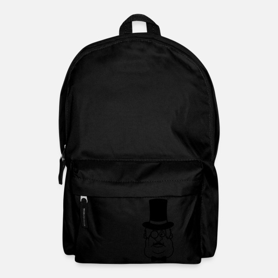 Wealth Bags & Backpacks - face rich cylinder monocle Sir Sir mustache - Backpack black