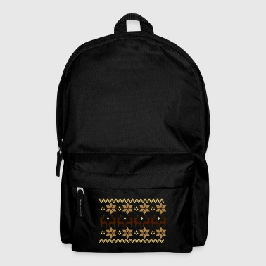 Poinsettia pattern and reindeer pattern  - Backpack