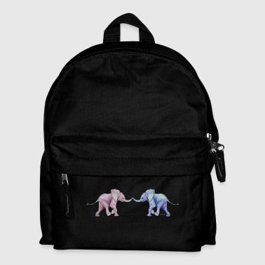 Two elephants - trunk to trunk (rose,blue) - Kids' Backpack