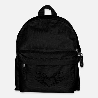 Valentines Day Large heart with wings and feathers - Kids' Backpack