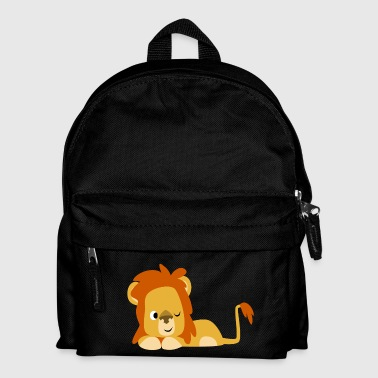 Cute Half-Asleep Cartoon Lion by Cheerful Madness! - Kids' Backpack