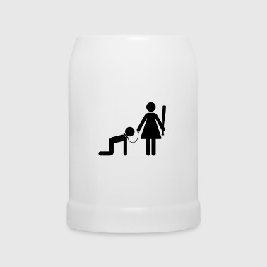A woman holds a man as a slave - Beer Mug