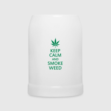 keep calm and smoke weed - Beer Mug