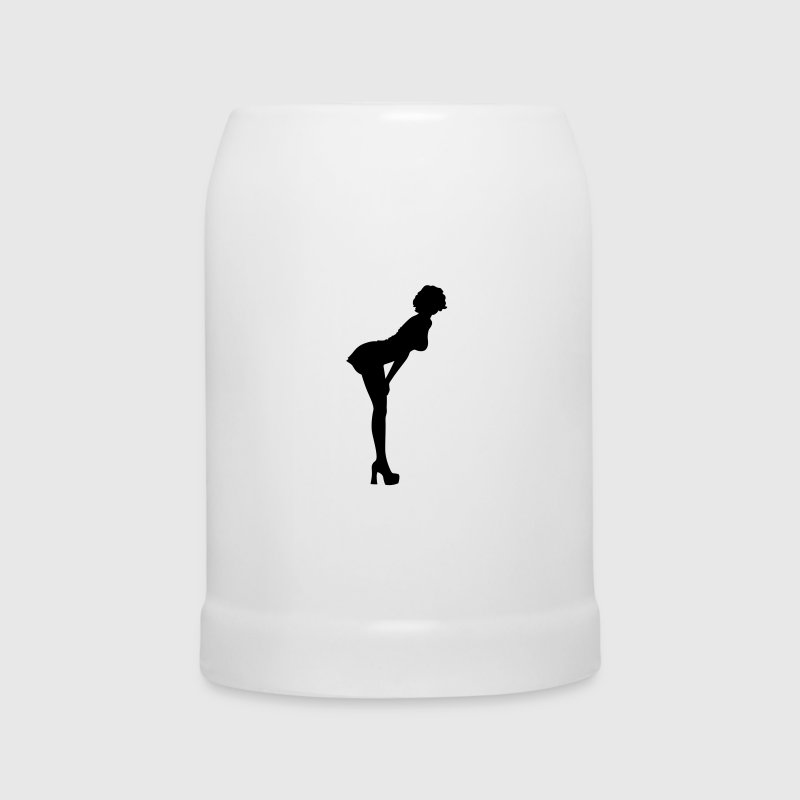 Sexy woman with nice butt bends forward - Beer Mug