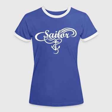 Sailor Waves Anchor Sail Design - Women's Ringer T-Shirt