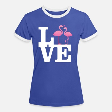 Love With Heart Love Flamingo Couple with heart - Vrouwen ringer T-Shirt