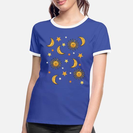 Keephen Vivre par Le Soleil Amour par la Lune t-Shirt Femmes d/écontract/é Soleil Lune Imprimer /à Manches Longues dr/ôle Graphique t-Shirts Hauts Pull