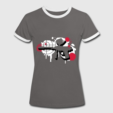 A paintball gun with a crosshair as a graffiti - Women's Ringer T-Shirt