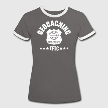 geocaching - 1000 caches - TFTC / 1 color - Kontrast-T-shirt dam