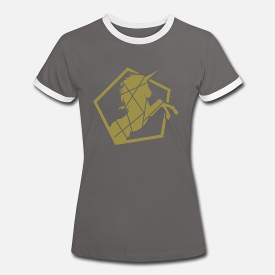 Gold T-Shirts - Unicorn Galloping - Unicorn galloping - Women's Ringer T-Shirt dark grey/white