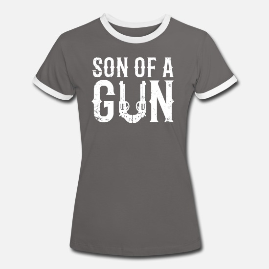 Gift Idea T-Shirts - Son Of A Gun partner motif for son - Women's Ringer T-Shirt dark grey/white