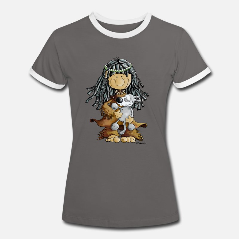 Wolf T-Shirts - Indian girl and wolf cartoon t-shirt design - Vrouwen ringer T-Shirt donkergrijs/wit
