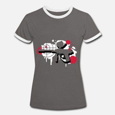 Paintball Gun A paintball gun with a crosshair as a graffiti - Women's Ringer T-Shirt