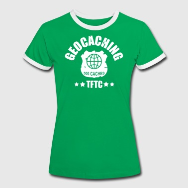 geocaching - 500 caches - TFTC / 1 color - Kontrast-T-shirt dam