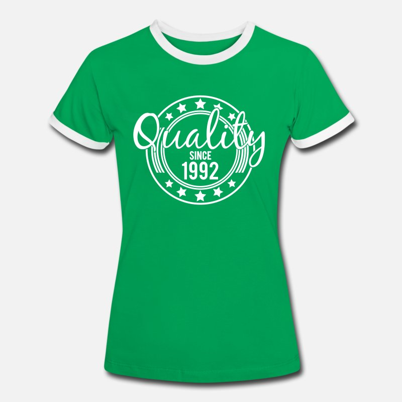 1992 T-Shirts - Birthday - Quality since 1992 (uk) - Women's Ringer T-Shirt kelly green/white