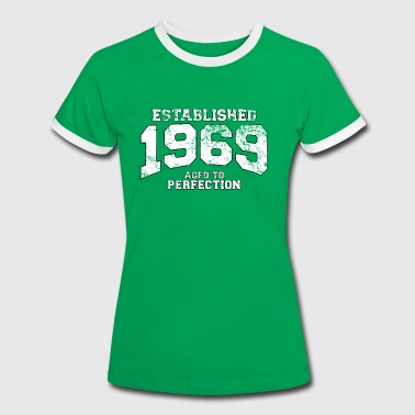 Established established 1969 - aged to perfection (sv) - Kontrast-T-shirt dam