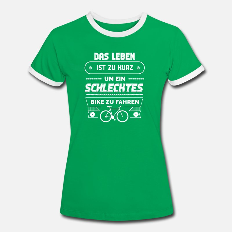 Bike T-Shirts - Biker Fahrrad Trikot E Bike Mountainbike MTB Shirt - Vrouwen ringer T-Shirt kelly groen/wit