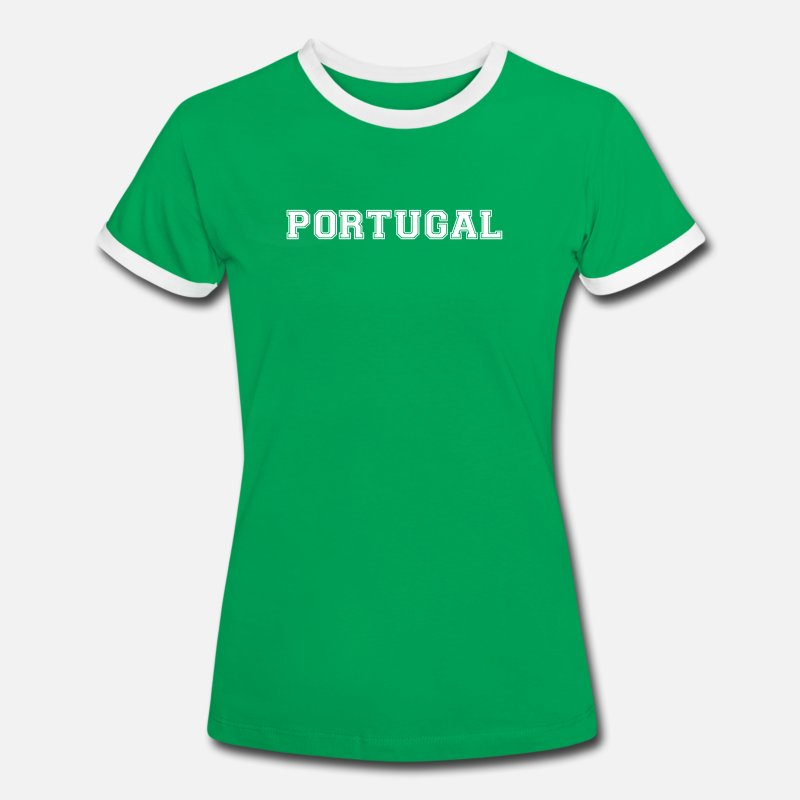 Portugal T-Shirts - portugal - Women's Ringer T-Shirt kelly green/white