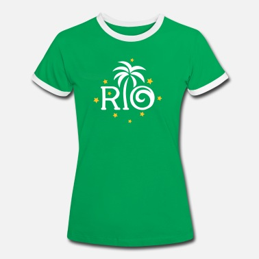 Brazil RIO Brazil Palm Star Football World Cup Champion - Dame kontrast-T-shirt