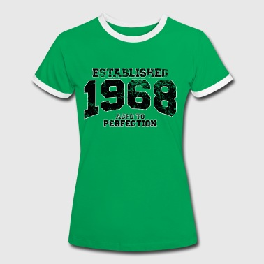 Established established 1968 - aged to perfection(sv) - Kontrast-T-shirt dam