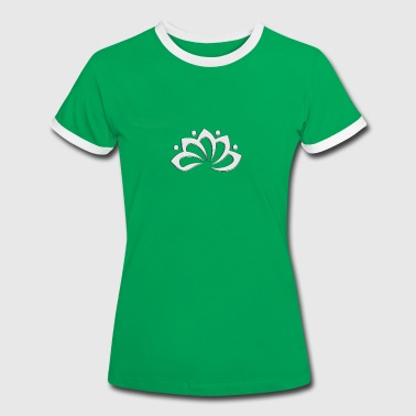 Lotus Flower, digital, silver, symbol of perfection and enlightenment, sacred symbol - Vrouwen contrastshirt
