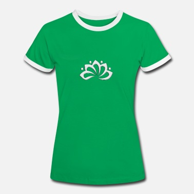 Bloom Lotus Flower, digital, silver, symbol of perfection and enlightenment, sacred symbol - Vrouwen contrastshirt