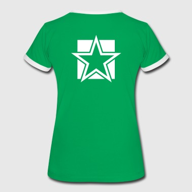 FUNKY red STAR outlined on a Square - Women's Ringer T-Shirt