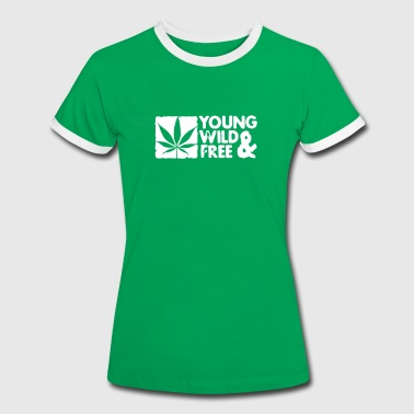 young wild and free weed leaf boxed - Frauen Kontrast-T-Shirt