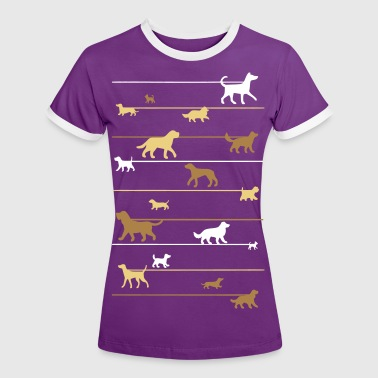 Dogs on a leash 4 - Vrouwen contrastshirt