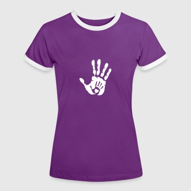 Baby Hand in Hand with Heart - Frauen Kontrast-T-Shirt