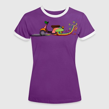 Retro Motorcycle Colored track DIGITAL - Women's Ringer T-Shirt