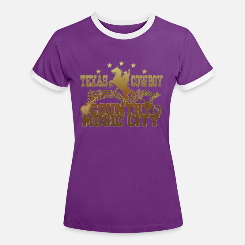 Country T-shirts - texas cowboy country music city - T-shirt contrasté Femme violet/blanc