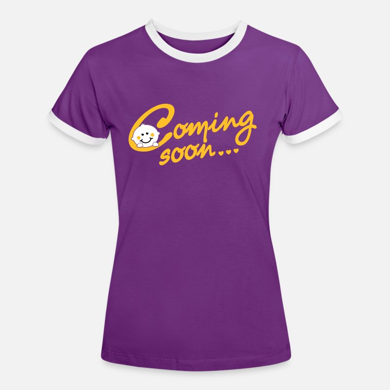 Soon T-Shirts - Coming soon Baby - Women's Ringer T-Shirt purple/white