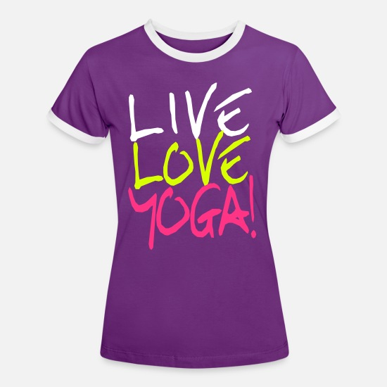 Love T-Shirts - Live Love Yoga! | Yoga shirt printing - Women's Ringer T-Shirt purple/white