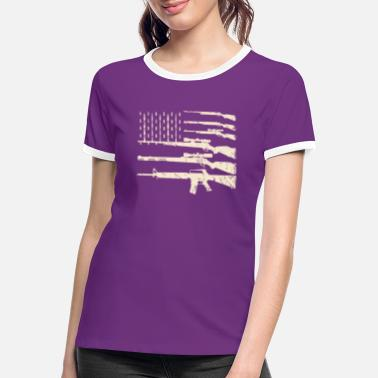 Us Army Guns USA Flag American Flag Rifles Weapons 2A Amen - Frauen Ringer T-Shirt
