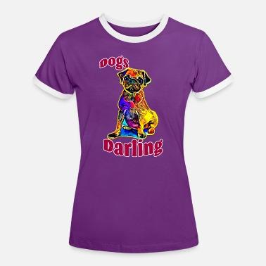 Bright Colors Pug with bright color in red - Women's Ringer T-Shirt
