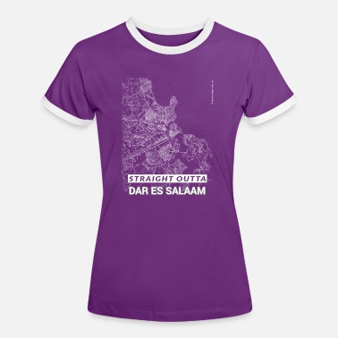 Dar Es Salaam Straight Outta Dar es Salaam city map and streets - Women's Ringer T-Shirt