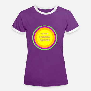 Occurs OCCUR RAINBOW DOLPHIN - Women's Ringer T-Shirt