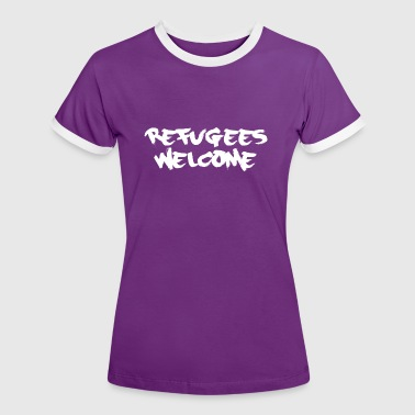refugees welcome - Frauen Kontrast-T-Shirt