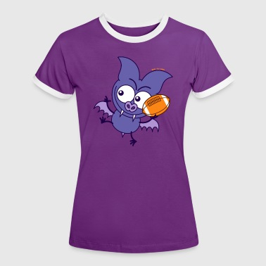 Purple Bat Playing Rugby - Women's Ringer T-Shirt